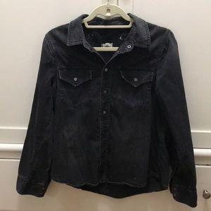 Madewell button down black denim shirt Large